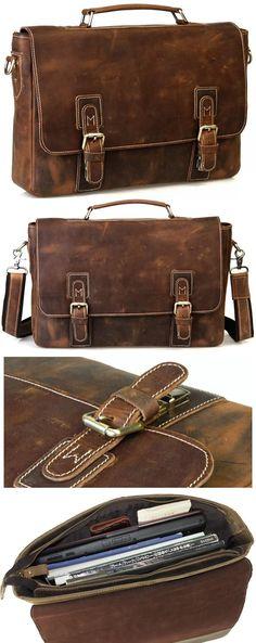 """Handmade Vintage Leather Briefcase / Leather Messenger Bag / 13"""" 15"""" MacBook or 14"""" 15"""" Laptop Bag"""