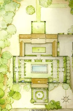 A painting of the landscape design of Balderbrae. At the top is the new enfilade with the two open air wings. Surrounding the pool is a stone wall, original to the property. At the bottom is the original stone cottage. Landscape Architecture, Landscape Design, Garden Design, Landscape Plans, Landscape Drawings, Landscape Illustration, American Style House, Vegetable Garden Planning, Waverly Fabric