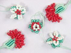 Turkish bead crochet oya flowers by AdeleR, via Flickr