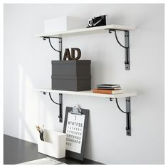IKEA - EKBY HEMNES / HÅLL Wall shelf white, black