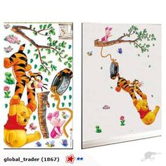 Wall Decor Sticker - Pooh & Friend Swing on Tyre   Trade Me