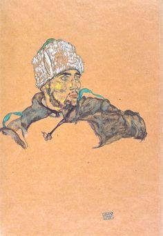 Egon Schiele (Austrian, 1890–1918), Russischer Kriegsgefangener mit Pelzmütze [Russian prisoner of war with fur hat], 1915. Pencil and gouache on brown paper, 44.6 x 31.2 cm. Albertina, Vienna.