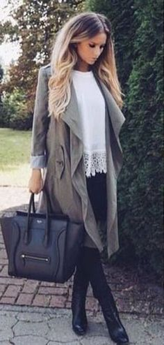 #winter #fashion / gray trench coat + crochet knit