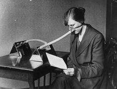 1919: A woman wearing a flu mask during the flu epidemic after the First World War.