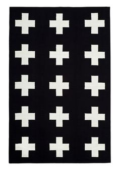 Black and white cross flatweave rug 8x10 $299