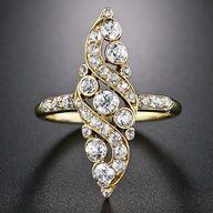 Antique Navette Diamond Ring www.finditforweddings.com