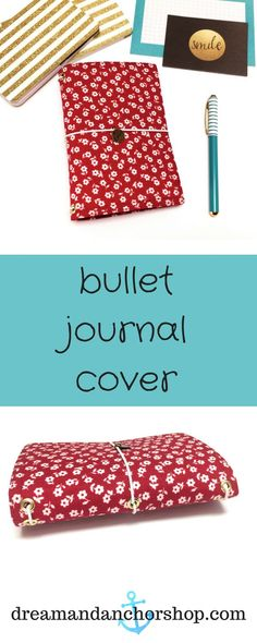 Make your plans in this red and white bullet journal cover! It's lightweight and can hold several different journals in one place. Notebook Covers, Journal Covers, Fabric Journals, Art Journals, Bullet Journals, Planner Dividers, Planner Ideas, Memory Journal, Bullet Journal Inspiration