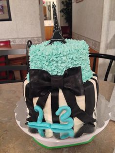 Tiffany blue Paris themed cake by Boss Lady Cakes