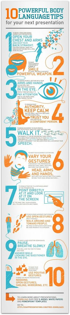 Infographic: 10 body language tips every speaker must know | get your points across and be a more effective speaker!!