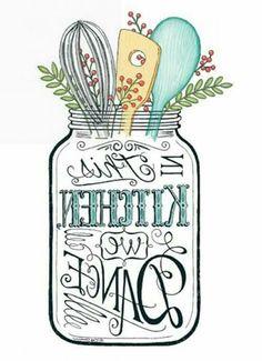 """In This Kitchen We Dance"" graphic in reverse image . Decoupage Vintage, Decoupage Paper, Diy Image, Stencils, Foto Transfer, Graphics Fairy, Vintage Labels, Graphics Vintage, Free Prints"
