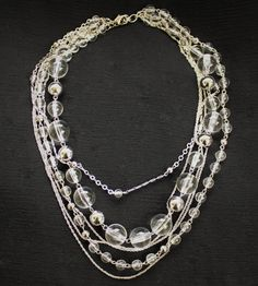 Vintage Clear Lucite Beaded Multi Strand Statement Necklace In Silver Tone
