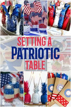 Patriotic Table Ideas - Set a great of July table with these great ideas - Surroundings by Debi Fourth Of July Cakes, Fourth Of July Decor, 4th Of July Celebration, 4th Of July Party, July 4th, Patriotic Table Decorations, 4th July Crafts, Memorial Day Foods, Patriotic Party