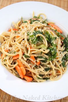 Sweet Miso Noodle Salad with Baby Kale - The Naked Kitchen