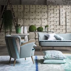 Eri Jade Rug, Designers Guild  'Heavy, dense, and with a lustrous sheen, the hand-tufted Eri rug makes a sophisticated display of the palette of the moment, sparkling emeralds, jades and aquas interplaying in tonal bands to wonderful effect'