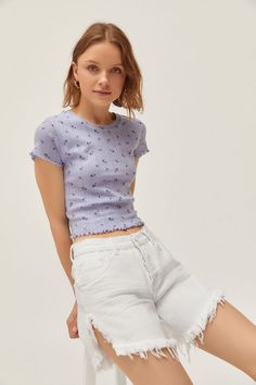 Urban Outfitters Printed Pointelle Lettuce-Edge Baby Tee - ShopStyle T-Shirts Look Fashion, Diy Fashion, Fashion Ideas, Cute Casual Outfits, Summer Outfits, Street Outfit, Clothing Items, Urban Outfitters, Street Style