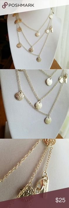 "Silver Daisy Fuentes coin wrap necklace Cute silver Daisy Fuentes coin necklace. 48"" long chain. POSE QUESTIONS, MAKE OFFERS :) Daisy Fuentes Jewelry Necklaces"