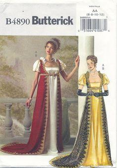 Regency Era Empire Dress with Robe, Josephine Costume pattern by Butterick 4890 TLC's Treasures https://www.etsy.com/shop/TLCsTreasures?ref=si_shop