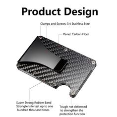 RFID Blocking Credit Card Wallet Stainless Steel Panels, Metal Texture, Radio Frequency, Minimalist Wallet, Credit Card Wallet, Purse Wallet, Bag Storage, Card Case, Carbon Fiber