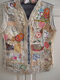One-Of-A-Kind ... Hand Sewn Cloth    I created this jeans vest out of vintage wedding gown and vintage embroidered pattern, vintage hand crocheted