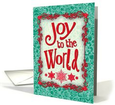 Joy to the World, Christmas card, holly, snowflakes, emerald & red card. Personalize any greeting card for no additional cost! Cards are shipped the Next Business Day. Product ID: 1190034 Holiday Cards, Christmas Cards, Red Christmas, Joy To The World, Snowflakes, Sisters, Card Making, Greeting Cards, Emerald Green