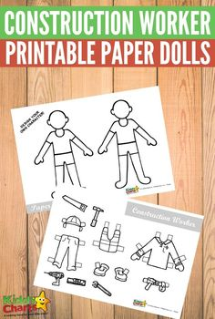 Free printable Construction Worker paper dolls