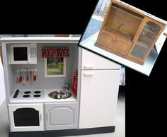 Convert Old TV Cabinets Into State of the Art Play Kitchens The linked article proposes an absolutely brilliant idea for old entertainment (aka CRT screen-based) units. Turning them into toy kitch… Diy Outdoor Furniture, Repurposed Furniture, Furniture Ideas, Baby Furniture, Entertainment Center Kitchen, Entertainment Room, Apartment Therapy, Old Tv Stands, Logo New