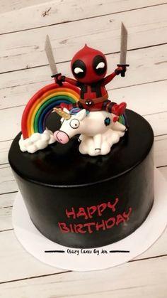 Deadpool Cake/ Deadpool Custom Cake/ Crazy Cakes By Jen Design/ Unicorn Fondant cake topper/ rainbow cake topper/ Deadpool cake topper/ Fondant Work/ All Edible/ Deadpool Birthday Cake Birthday Cakes For Men, Funny Birthday Cakes, Funny Cake, Cake Birthday, Crazy Cakes, Fondant Cake Toppers, Fondant Cakes, Cupcake Cakes, Cake Pops
