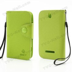 MLT Folio Leather Wallet Case Cover for Sony Xperia E Dual C1605 C1604 Xperia E C1505 C1504 - Green