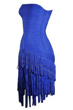 Velina Bright Royal Blue Fringe Metal Eyelet Strapless Bodycon Bandage Dress