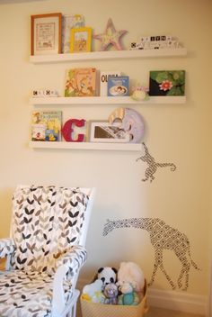 For Gwen's room - want to do shelves like this on the wall above her desk but vary the lengths and positioning of the shelves.