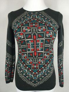 cdf3e8690b J Crew Knotted Scarf Sweater 100 Merino Wool Green Red Crewneck Size XS B29