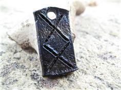 Inguz viking celtic rune pendant - blacksmith forged wrought iron, steel, zipper charm iron anniversary gift idea