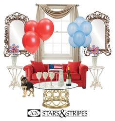 """""""Happy 4th July"""" by ac-silver ❤ liked on Polyvore featuring interior, interiors, interior design, home, home decor, interior decorating, Howard Elliott, Liz Claiborne, Home Decorators Collection and WALL"""
