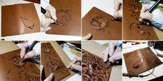 Pyrography on leather notebook cover.