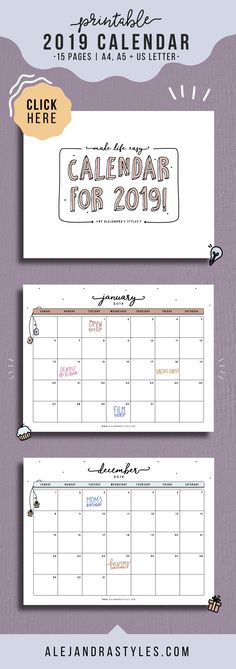 Single Page, Dated 2019 Calendars with Sunday and Monday Starts