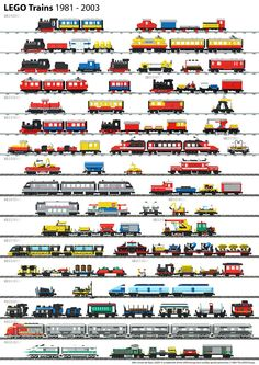 2003 An sized poster created with LDraw and POV-Ray, shows all Lego train sets from . Lego City Train, Lego Trains, Instructions Lego, Modele Lego, Train Posters, All Lego, Lego Worlds, Cool Lego Creations, Lego Projects