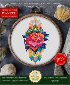 This is modern cross-stitch pattern of Mandala Rose for instant download. You will get 7-pages PDF file, which includes: - main picture for your reference; - colorful scheme for cross-stitch; - list of DMC thread colors (instruction and key section); - list of calculated thread