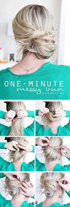Easy Hairstyles for Work - One Minute Messy Bun - Quick and Easy Hairstyles For The Lazy Girl. Great Ideas For Medium Hair, Long Hair, Short Hair, The Undo and Shoulder Length Hair. DIY And Step By Step - https://www.thegoddess.com/easy-hairstyles-for-work #BunHairstylesLazy