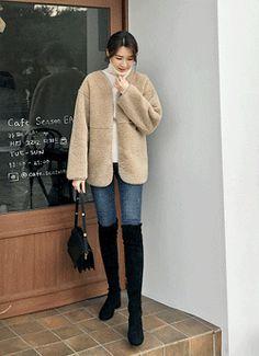 77사이즈 Fur Coat, Normcore, Jackets, Style, Fashion, Down Jackets, Swag, Moda, Fashion Styles