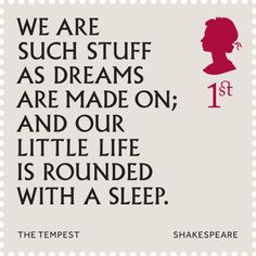 Quote from The Tempest. From a commemorative stamp set marking the 400th anniversary of Shakespeare's death.