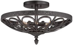Kathy Ireland La Romantica Black Iron Ceiling Light - #7W432 | www.lampsplus.com