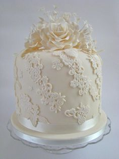 Ivory Rose and Lace Column Wedding Cake