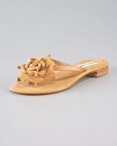376b8c54371f Manolo Blahnik Patricia Suede-Flower Thong Sandal