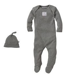 Bee Essential Footie Coverall & Knot Top Hat Set - Burts Bees Baby