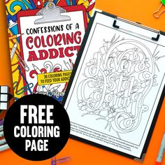 "Get this free adult coloring page from the ""Color Your World"" adult coloring book by Sarah Renae Clark. Visit the website for more free coloring pages. Cool Coloring Pages, Coloring Books, Colored Pencil Tutorial, Printable Crafts, Free Printables, Printable Adult Coloring Pages, Love Is Free, Just For You, Confessions"