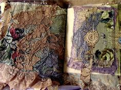 fabric and lace collaged page of tattered lace Journal by Suziqu Fabric Journals, Art Journals, Fabric Books, Vintage Journals, Handmade Journals, Handmade Books, Fabric Paper, Fabric Crafts, Altered Books