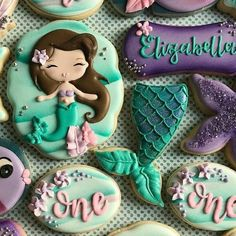 Such an amazing and beautiful Mermaid set by 💞💕💞 The Mermaid Tail and Jackson (name) Plaque cutters are available in multiple… Little Mermaid Birthday, Little Mermaid Parties, Mermaid Baby Showers, Baby Mermaid, Mermaid Cookies, Princess Cookies, Mermaid Party Decorations, Cute Cookies, Sugar Cookies