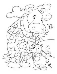 Hippo Color Page Animal Coloring Pages Plate