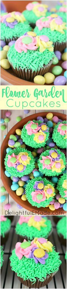 These fun, colorful cupcakes are the perfect mix of pretty pastel flowers, and delicious chocolate cake!  Decorated with green grass frosting and topped with spring pansies adored with milk chocolate M&M's® Pastel candies, these cupcakes are perfect for Easter or any fun, spring occasion! #ad #SweeterEaster