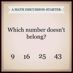 Math Talk starter - could use this so many ways. Students could prove why a number doesn't belong. Math Talk starter - could use this so many ways. Students could prove why a number doesn't belong. Math Teacher, Math Classroom, Teaching Math, Future Classroom, Math Strategies, Math Resources, Maths Starters, Fifth Grade Math, Second Grade